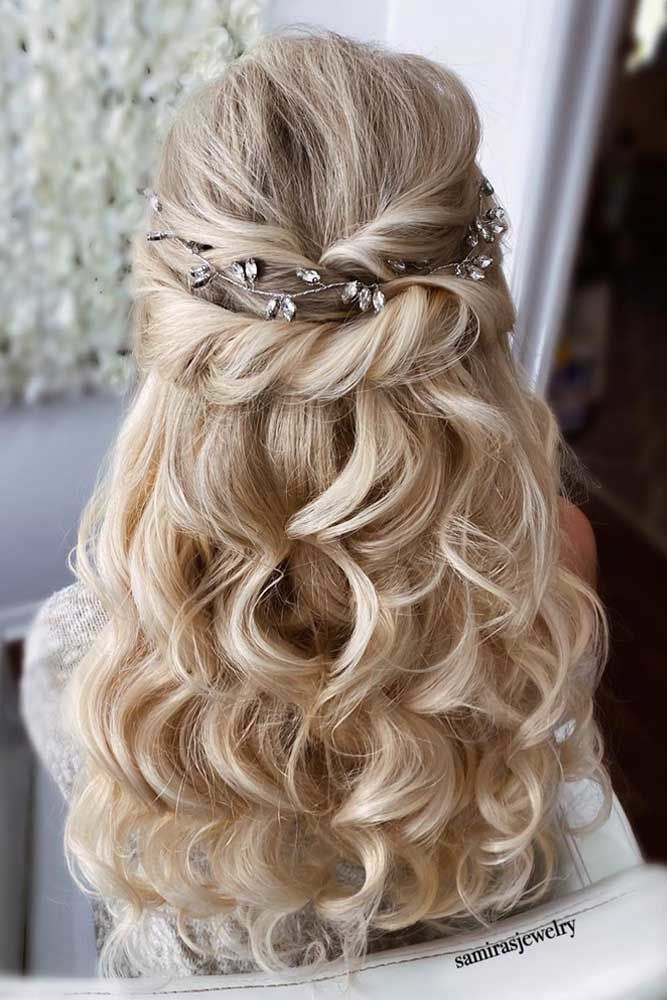 Wavy Half Up Twisted Accessorized Formal Hairstyles #formalhairstyles #longhair #hairstyles